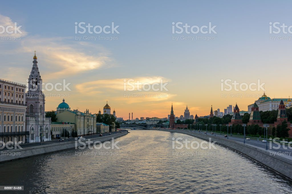 Moscow River in Moscow, Moscow Kremlin. Russia. stock photo