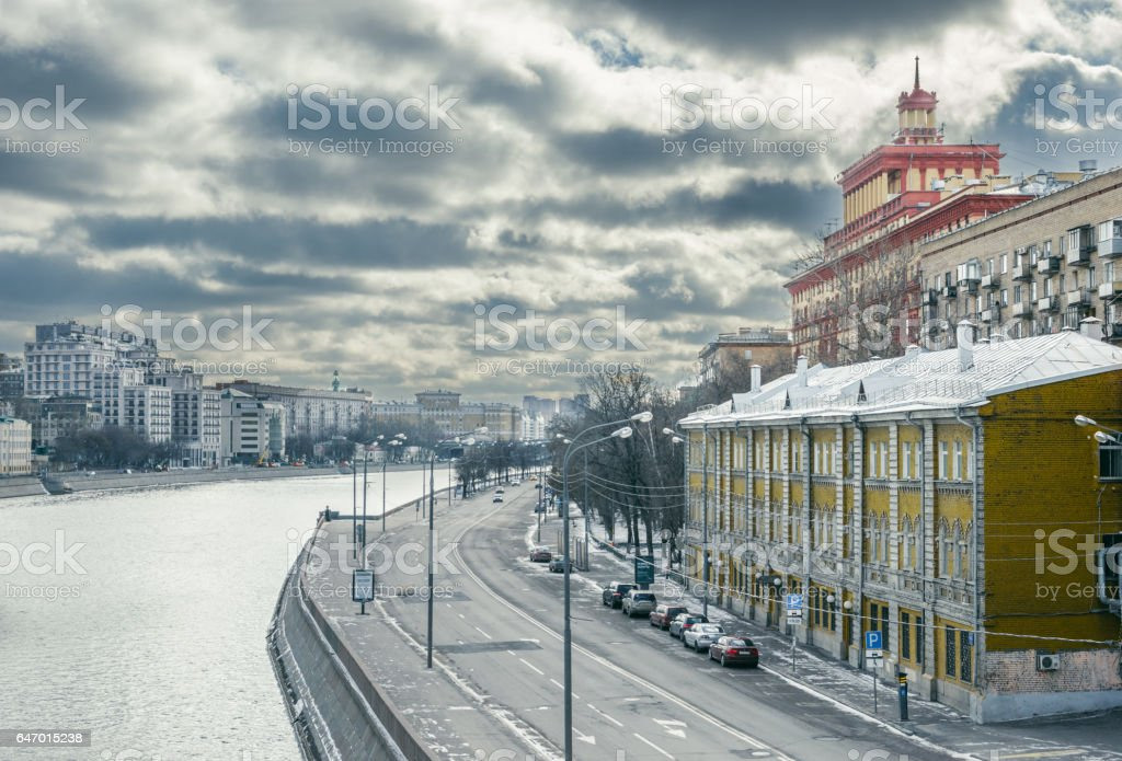Moscow river with embankment stock photo