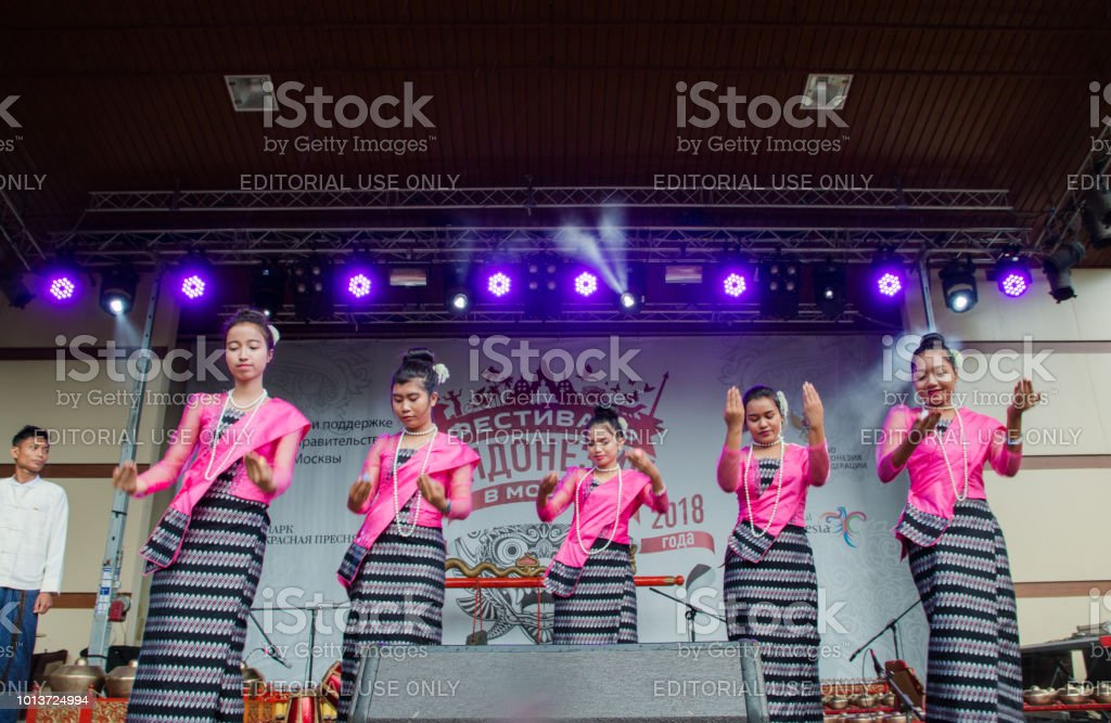 Moscow, Russia, 04 august 2018 dance of girls in folk costumes at the festival of Indonesia stock photo
