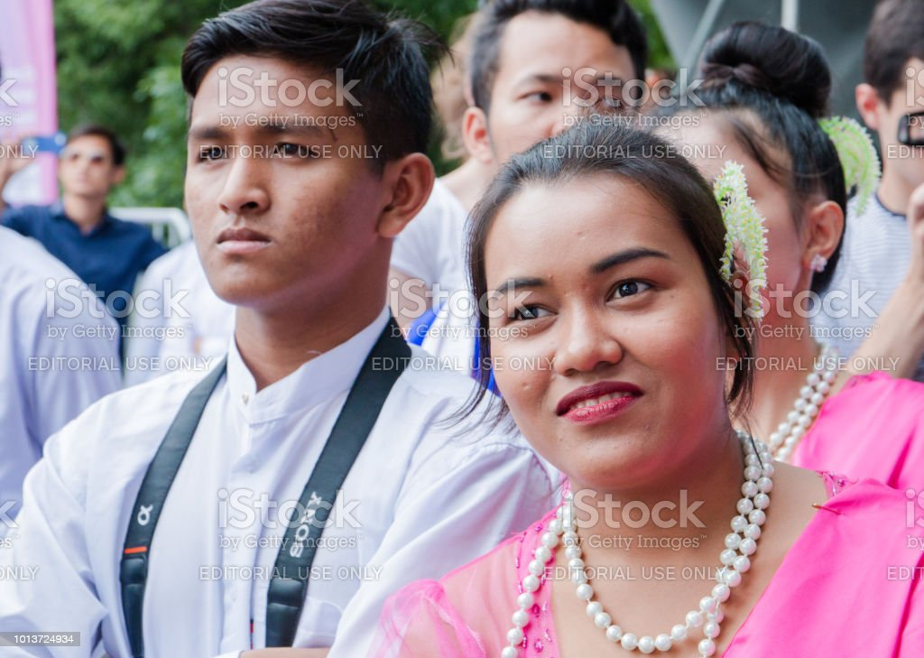 Moscow, Russia, 04 august 2018 Unknown Balinese young guy and girl at the festival of Indonesia stock photo