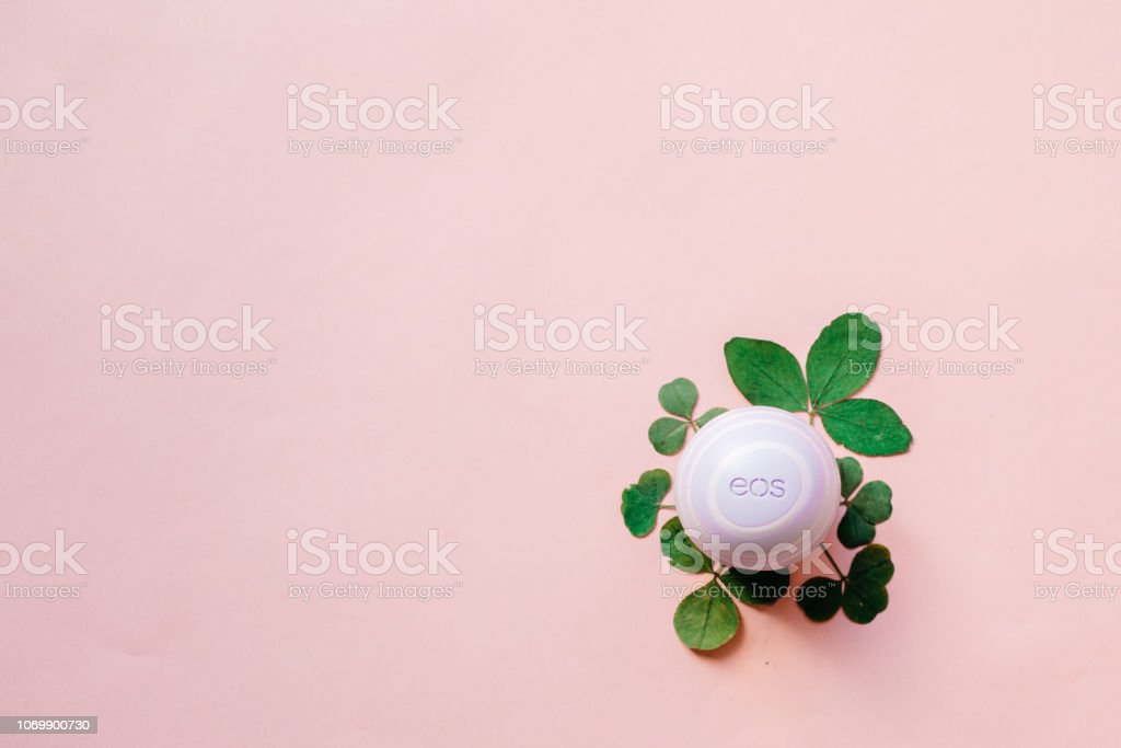 Moscow Russia 11 14 2018 Eos Lip Balm Dry Leaves And Flowers
