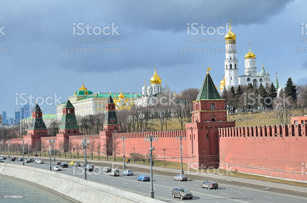 Moscow, Russia, cars near Moscow kremlin stock photo