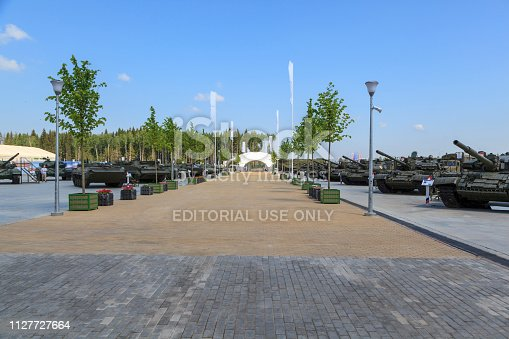istock Moscow, Russia -may 02 2017: Entrance to the Park Patriot, an exhibition of the Russian military equipment, editorial. 1127727664