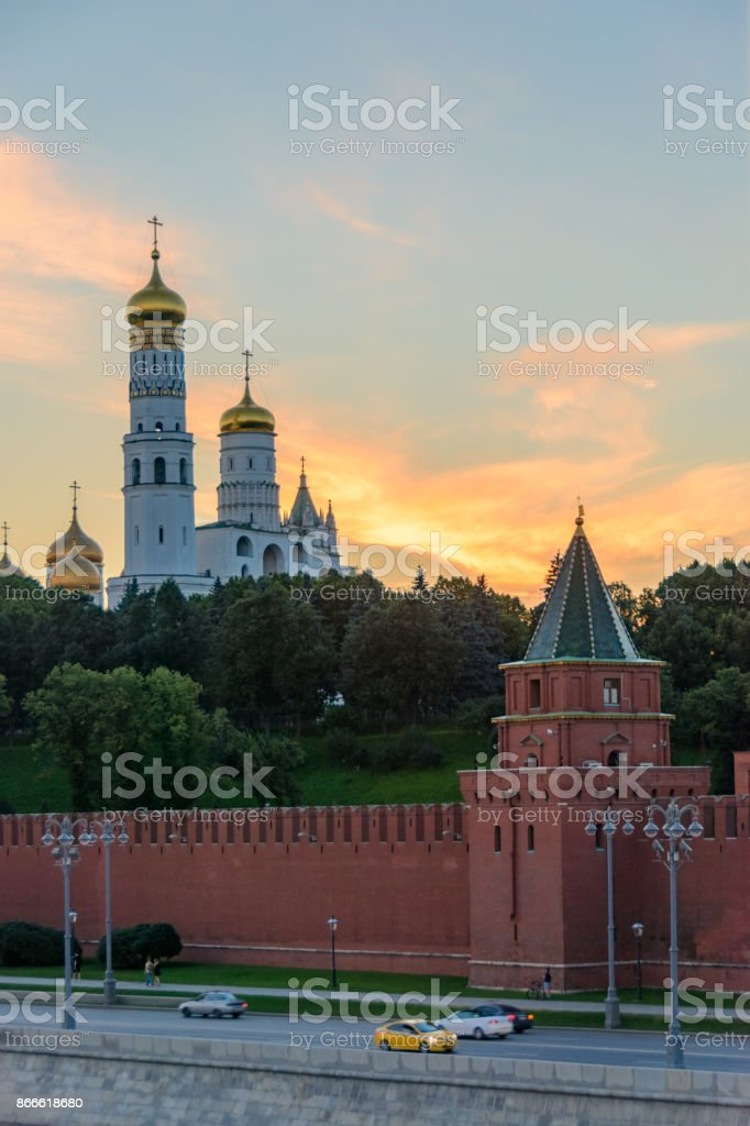Moscow, Russia. Moscow Kremlin on the Moskva River embankment. stock photo