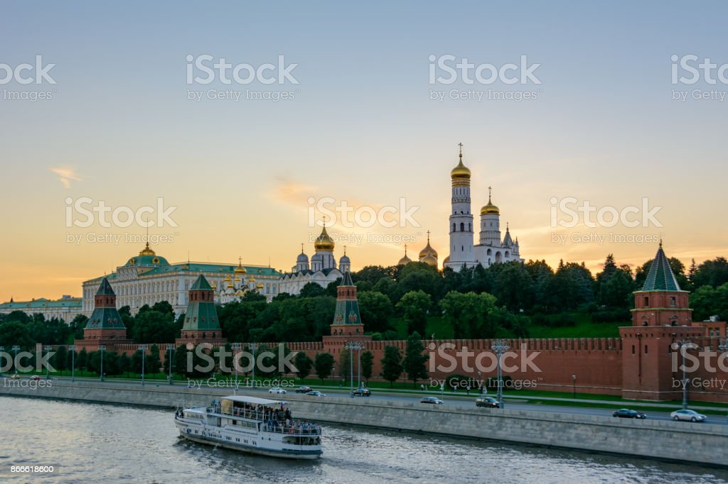 Moscow, Russia. Ship on the Moscow River floats past the Kremlin. stock photo