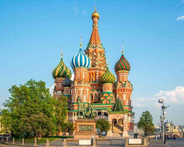 Moscow Russia St.Basil Cathedral The famous St. Basil Church in Summer, Russian Orthodox Cathedral, the most famous landmark on the Red Square in Moscow, Russia. kremlin stock pictures, royalty-free photos & images