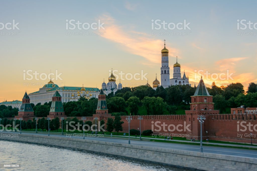 Moscow, Russia. The walls and towers of the Kremlin. stock photo