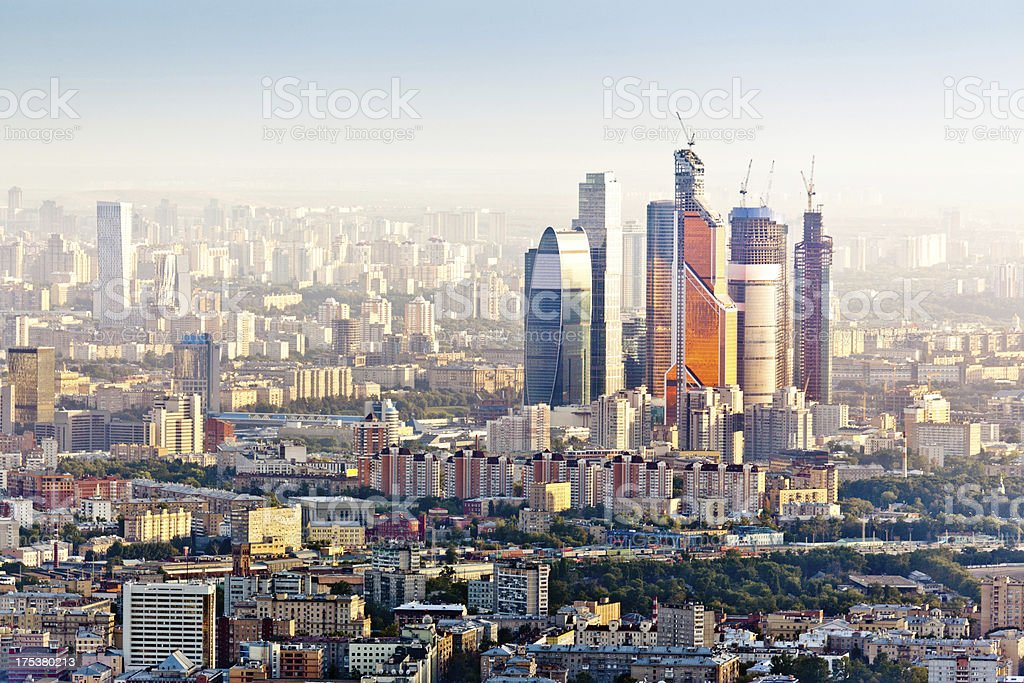 Moscow skyline. Aerial view stock photo