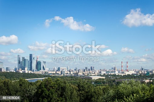 Moscow skyline. Aerial view, summer 2017, Russia