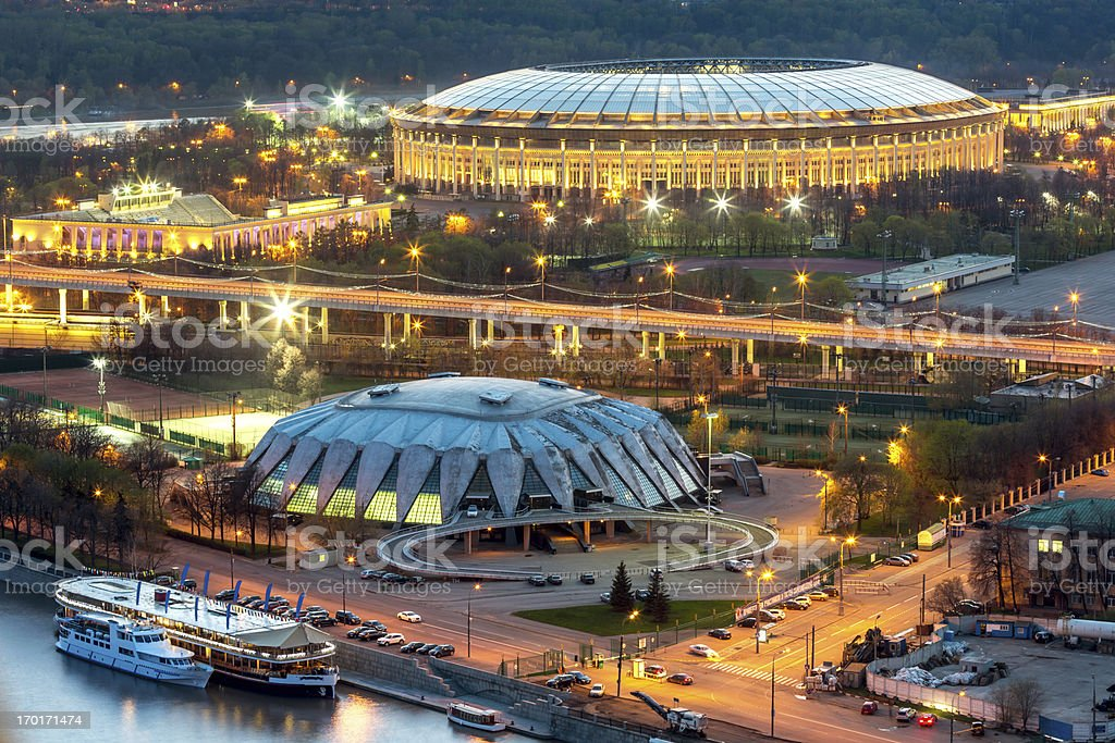 Moscow sports arena at night stock photo
