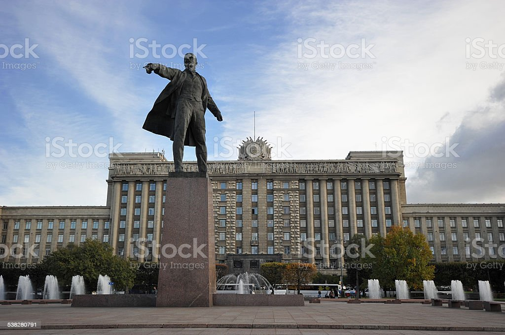 Moscow square and the monument to Lenin in St. Petersburg stock photo