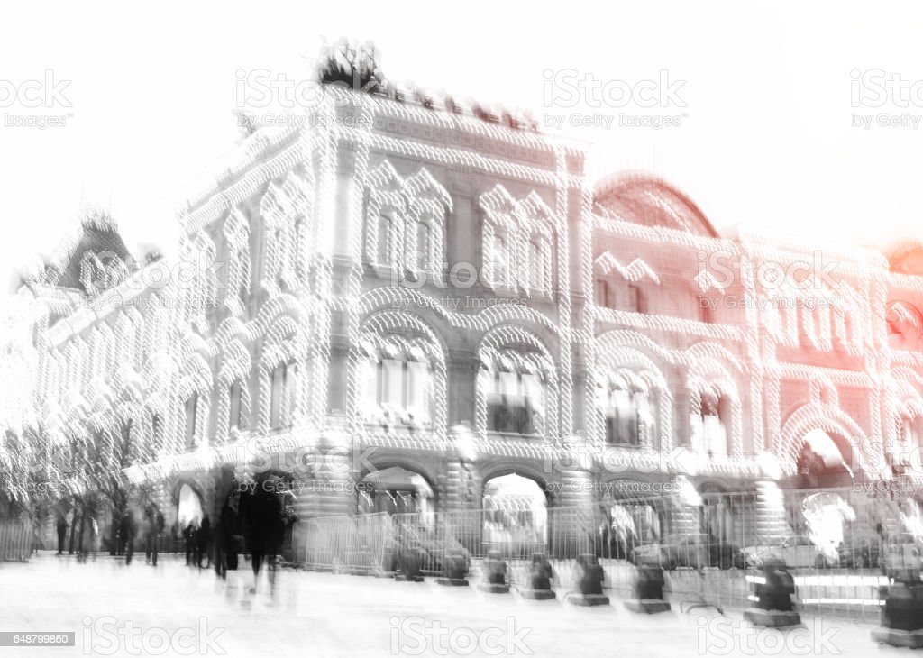 Moscow state department store light leak background stock photo