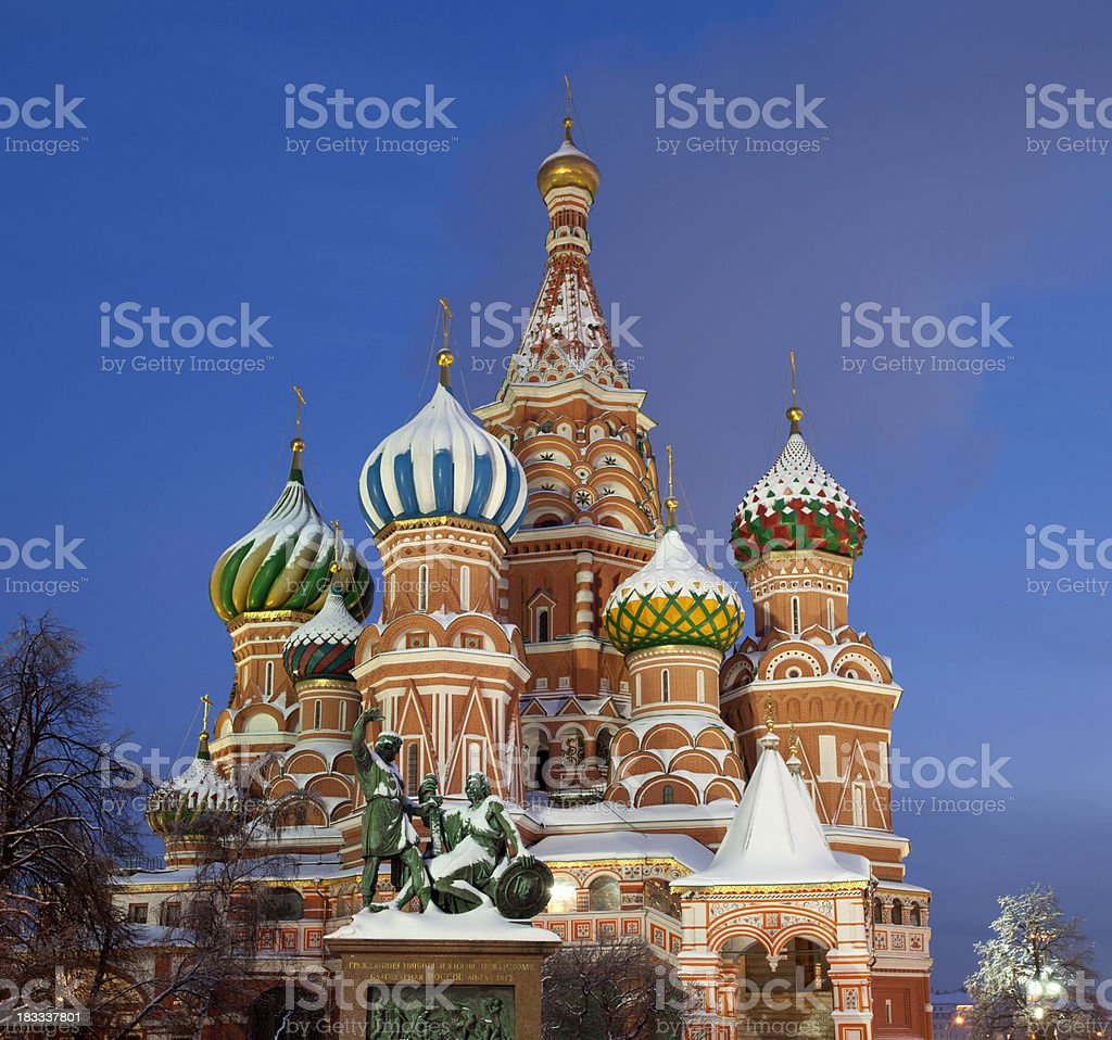 Moscow. St.Basil Cathedral, Minin and Pozharskiy monument in the evening. royalty-free stock photo