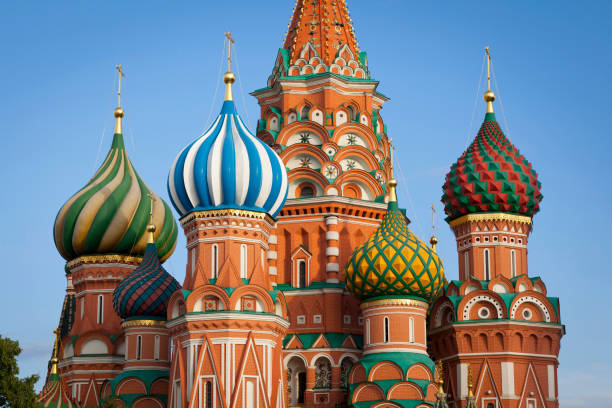 Moscow. St.Basil Cathedral St. Basil church is a Russian Orthodox cathedral erected on the Red Square in Moscow. There is in central of Moscow.Nobody. kremlin stock pictures, royalty-free photos & images