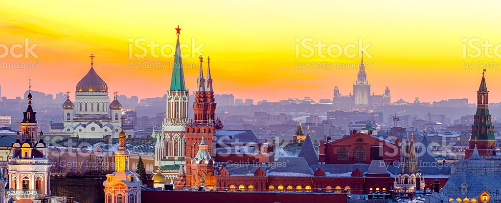 Moscow, view of Moscow Kremlin, Russia stock photo
