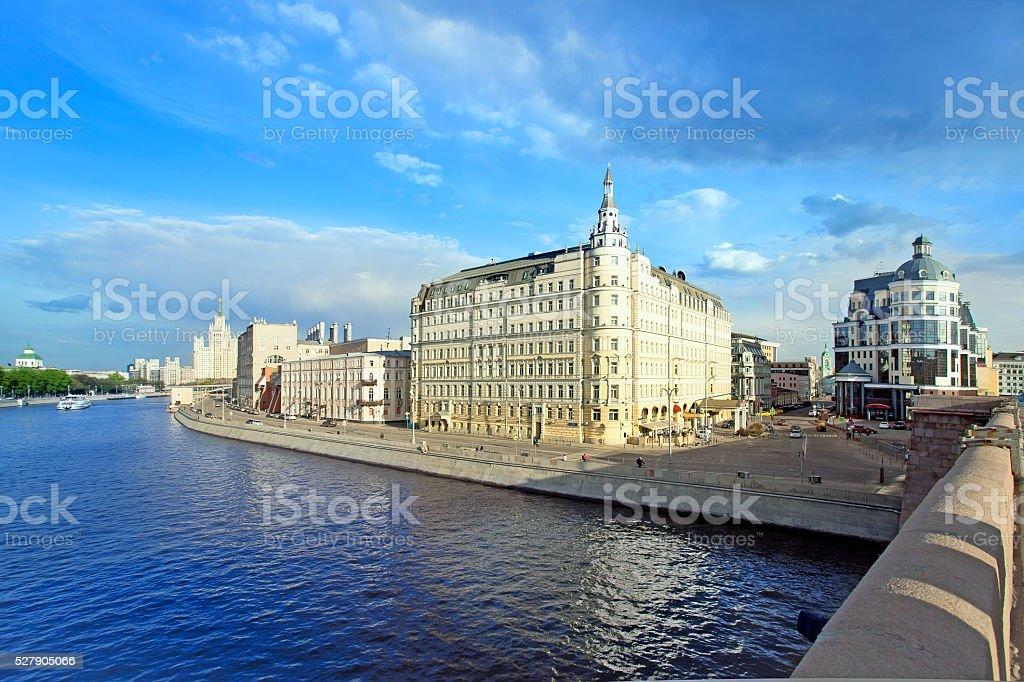 Moscow. View of  river,Raushskaya embankment, Baltschug Kempinski Hotel stock photo