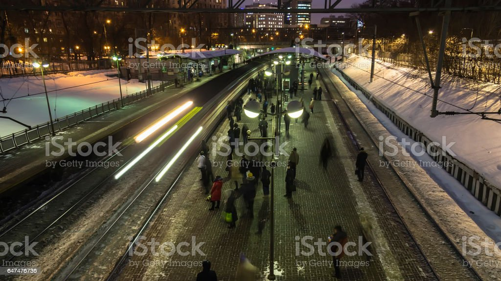 Moscow;Russia, February -first -Two thousand seventeen year;after the end of working day,  people depart home on train, stock photo