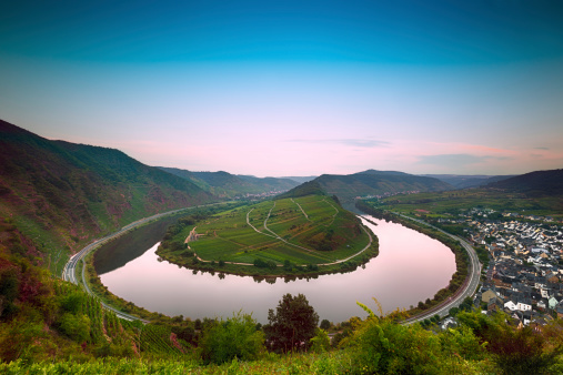 Mosel Bend (Moselschleife) at dawn, Germany