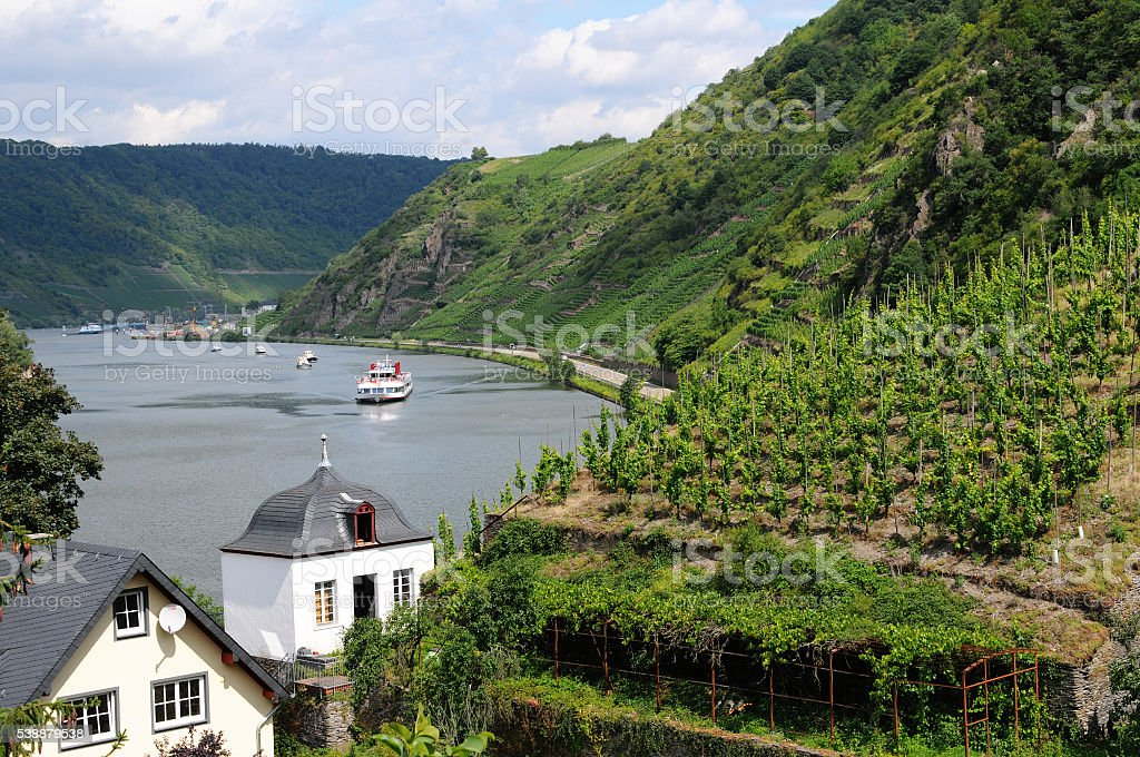 mosel river valley view from Beilstein to weir of Bruttig stock photo