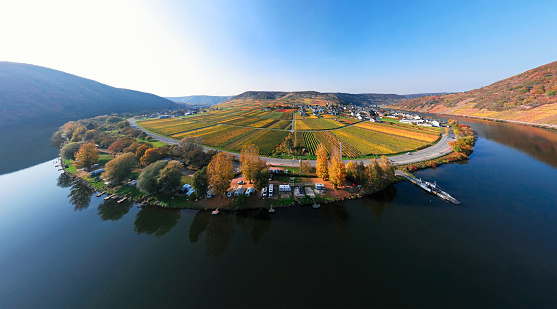 Mosel valley vineyards near Beilstein resort at autumn, Rhineland-Palatinate, Germany.