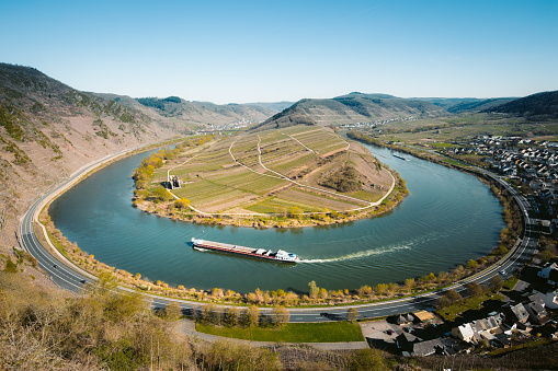 Moselle river bend with the historic town of Bremm, Rheinland-Pfalz, Germany