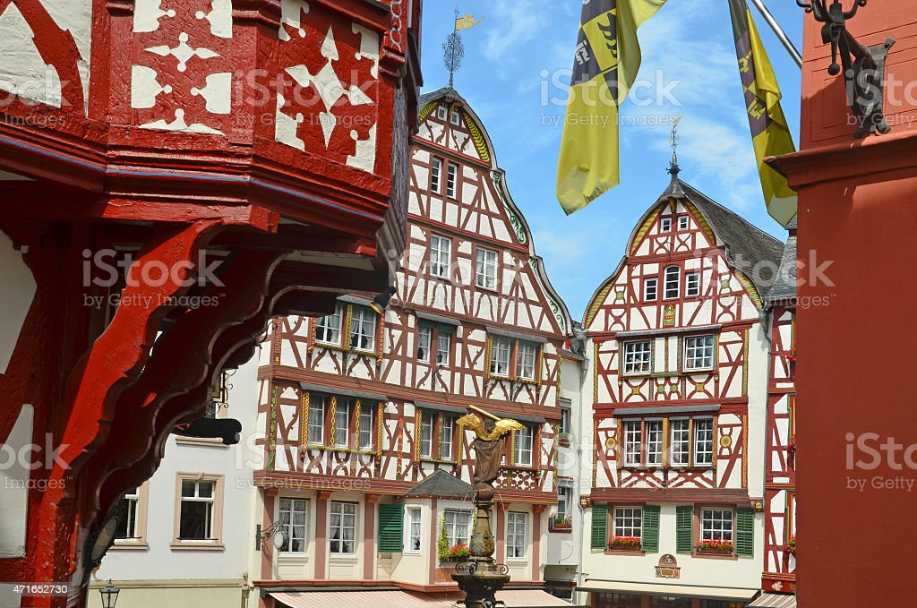 Moselle Valley Germany: Old town of Bernkastel-Kues, Timbered Houses stock photo
