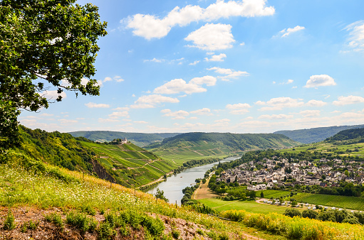 Moselle Valley Germany: View to Marienburg Castle and Village Puenderich