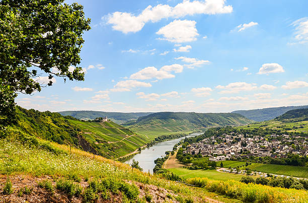 Moselle Valley Germany: View to Marienburg Castle and Village Puenderich View across the river Moselle to Marienburg Castle and village Punderich - Moselle valley wine region in Germany north rhine westphalia stock pictures, royalty-free photos & images