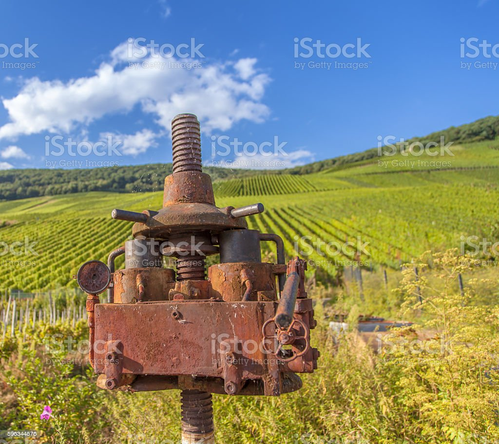 moselle vineyard and antique vine Agriculture machine Lizenzfreies stock-foto
