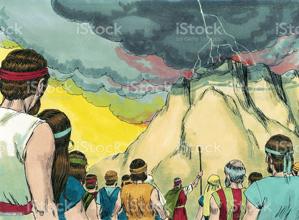Moses and People Look at Mt. Sinai stock photo