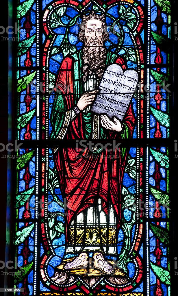 Moses and Ten Commandments stock photo