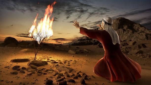 Moses and the burning bush stock photo