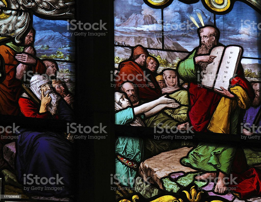 Moses and the Ten Commandments stock photo