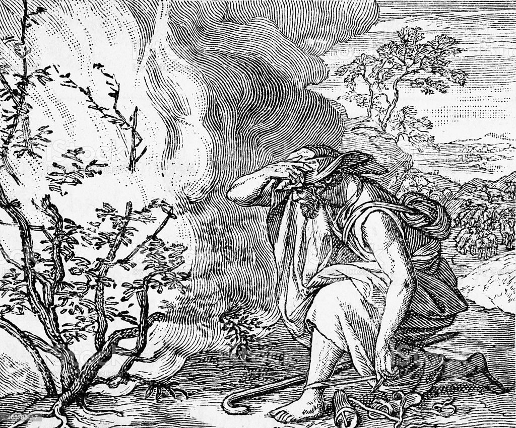 Moses at the Burning Bush stock photo