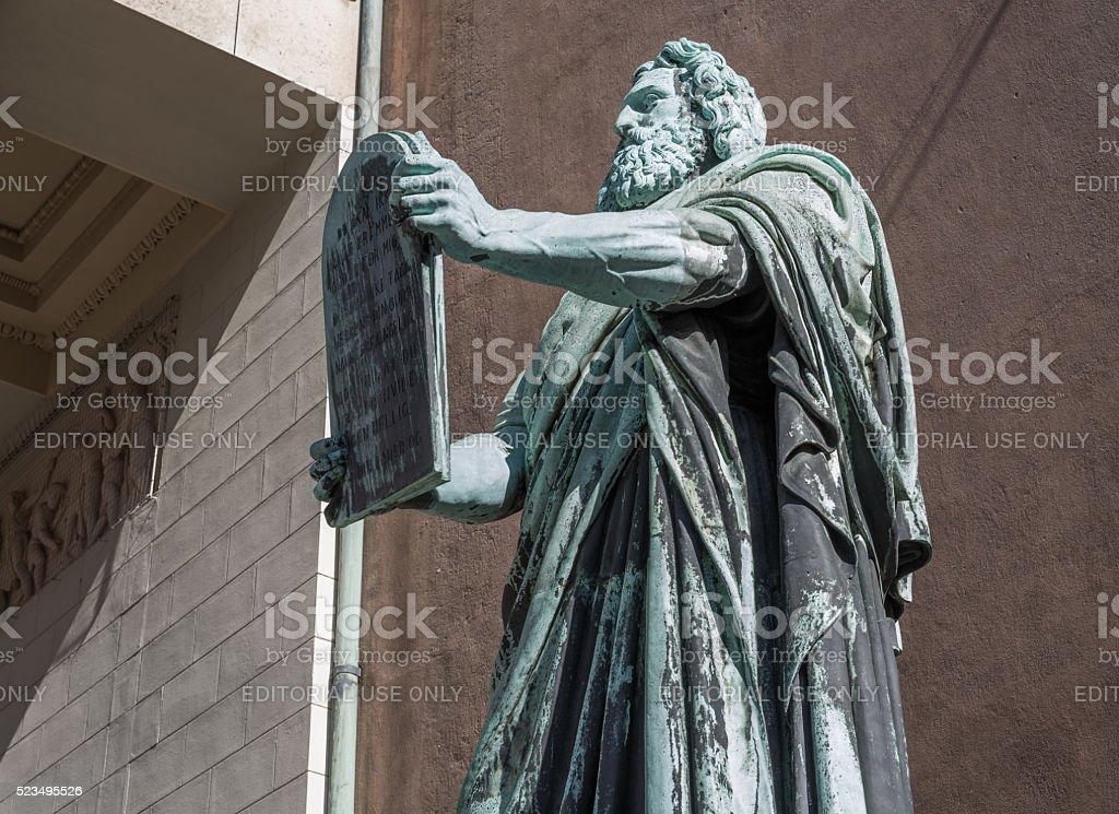 Moses in front of Vor Frue Kirke, Copenhagen, Denmark stock photo