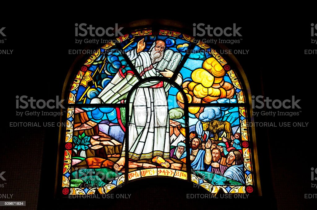 Moses in stained glass - Ethiopia stock photo