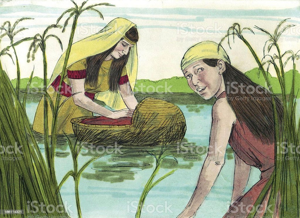 Moses in the Bulrushes stock photo
