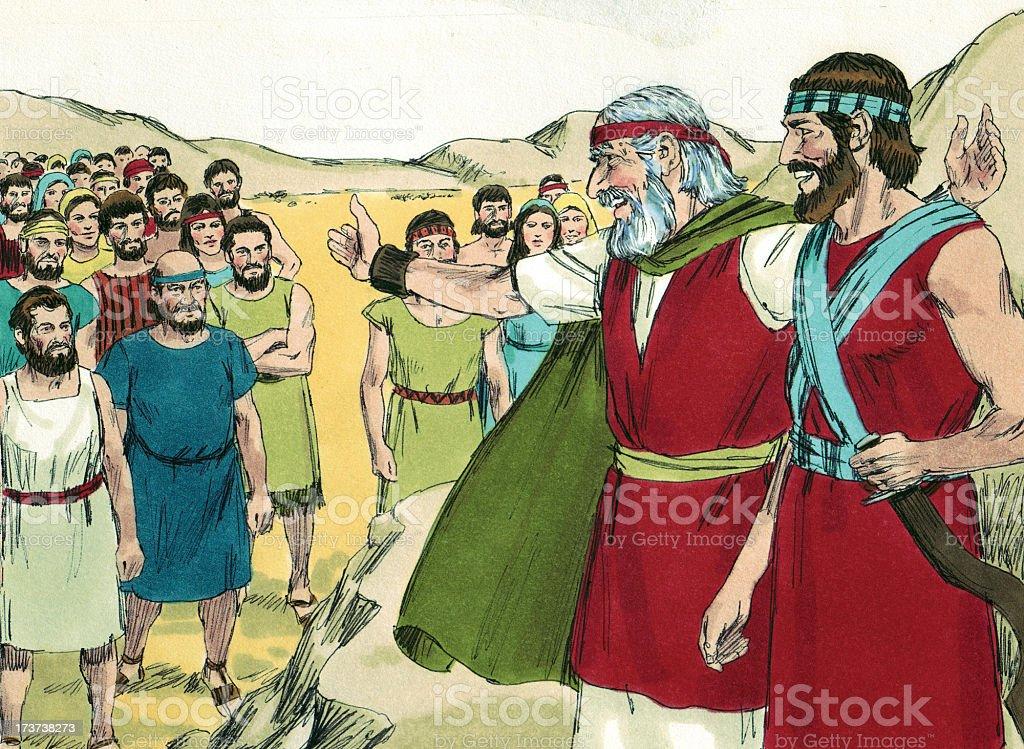 Moses, Joshua, and Israelites stock photo