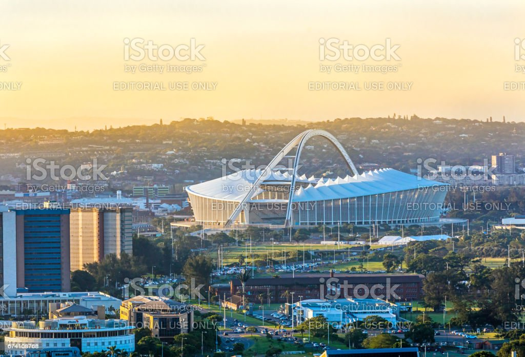 Moses Mabhida Stadium in Durban from above stock photo