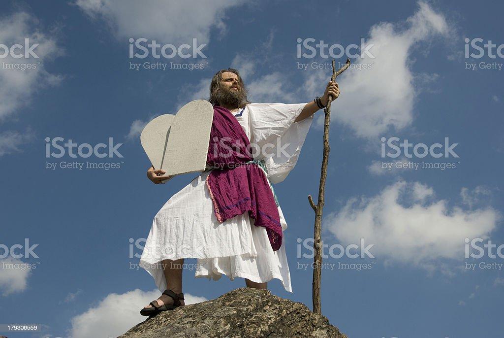 Moses mit Steintafeln stock photo