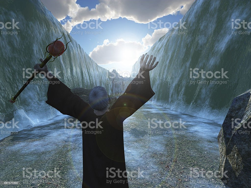 Moses parting the Red Sea stock photo