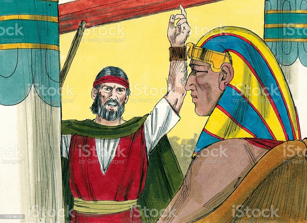 Moses Pleads with Pharaoh stock photo