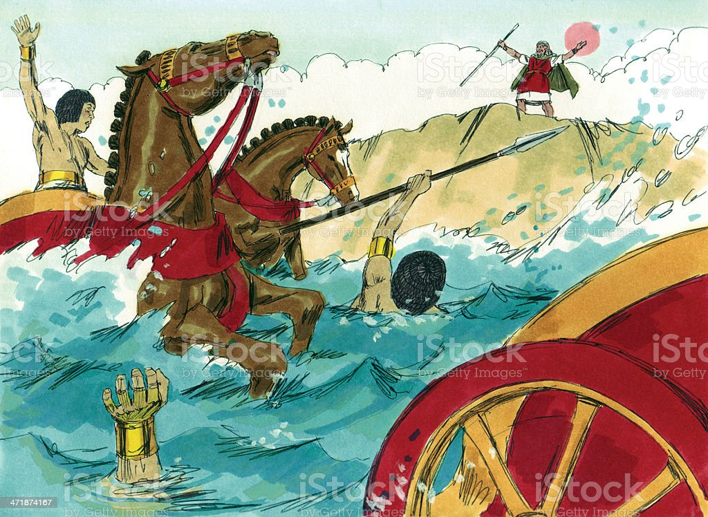 Moses Releases Red Sea on Egyptians stock photo