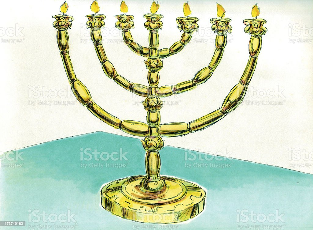 Moses, Tabernacle, Lamp Stand in Holy Place stock photo