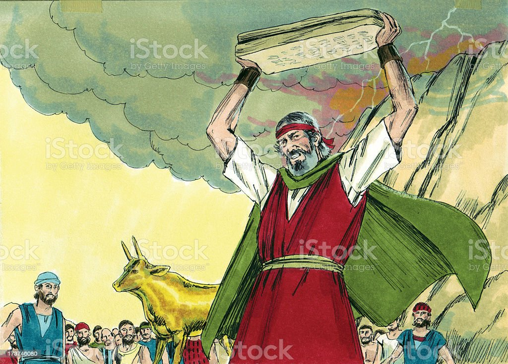 Moses Throws Tablets in Anger stock photo