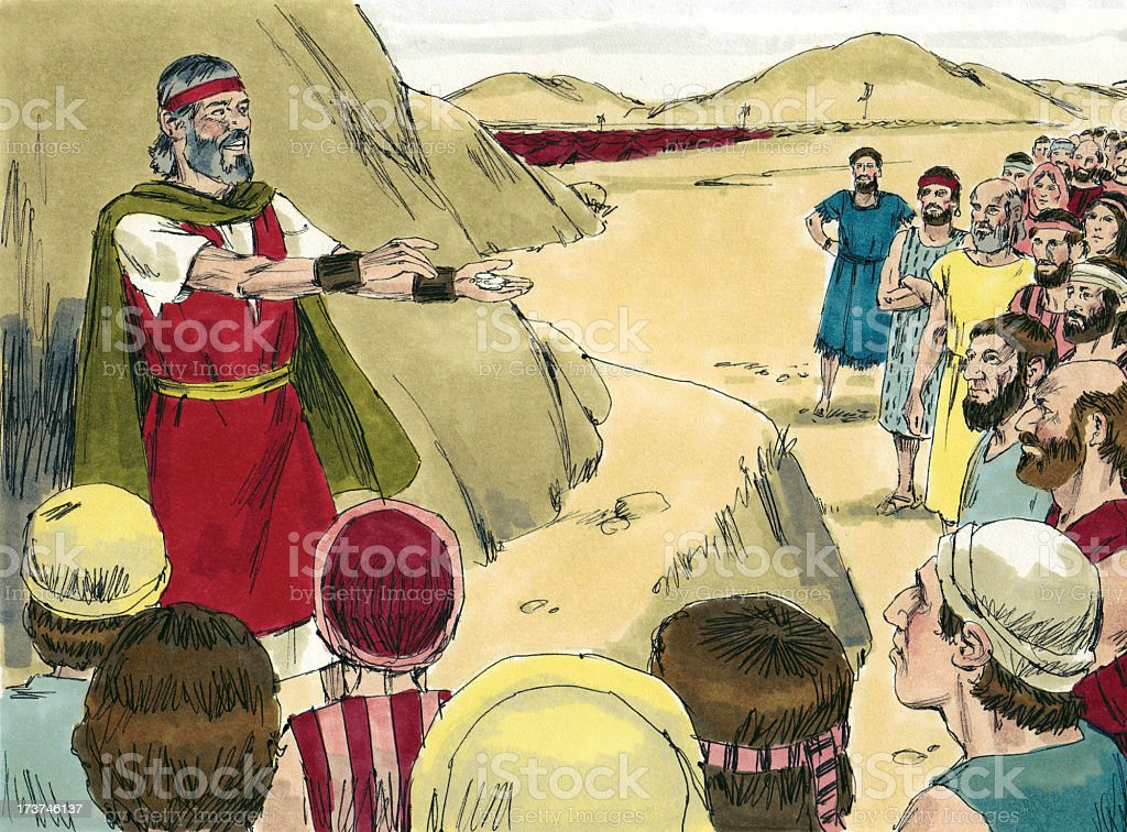 Moses Tries to Calm Israelites stock photo