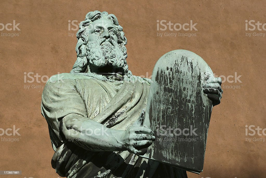Moses with commandments stock photo