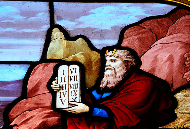 Moses with the tablets stock photo