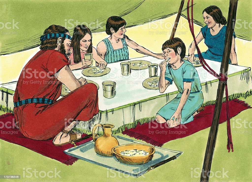 Moses--Israelite Family Eats Manna stock photo