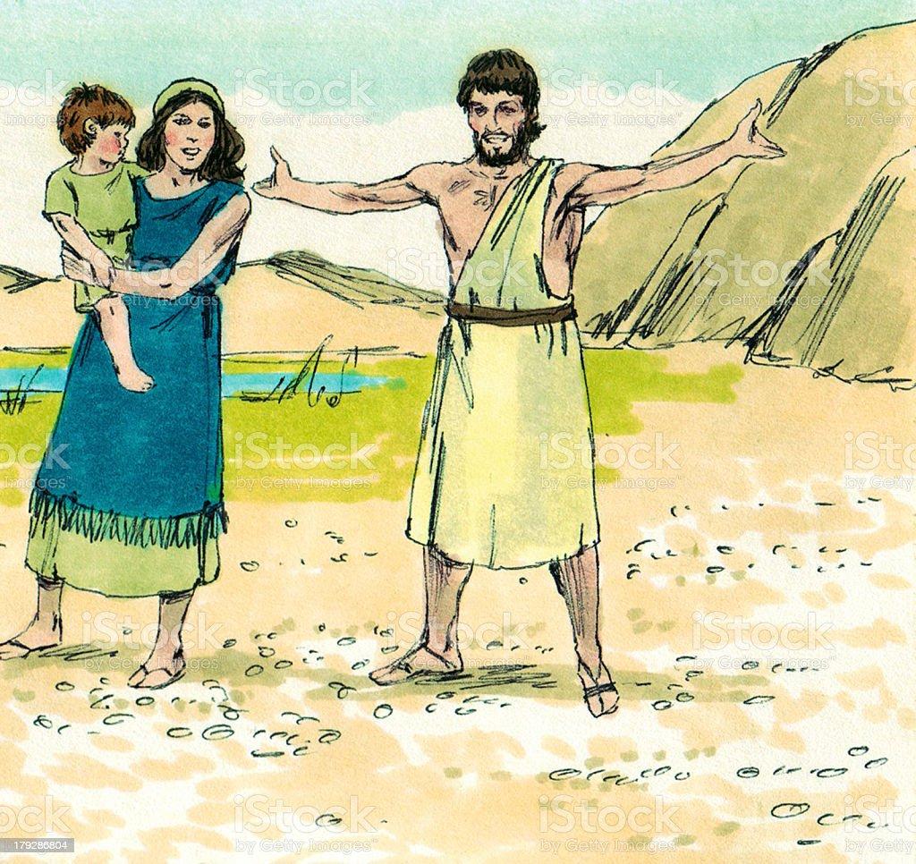 Moses--Israelite Family Unhappy stock photo